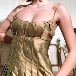 Gorgeous golden green fairy silk gown